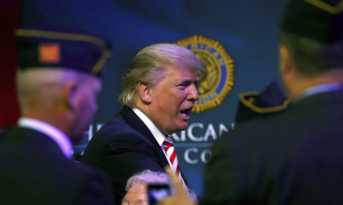 Republican presidential candidate Donald Trump at the American Legion Convention September 1, 2016 in Cincinnati, Ohio. (Aaron P. Bernstein/Getty Images)