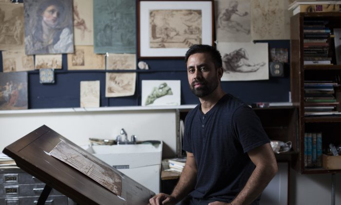 Artist Anthony Baus in his studio at Grand Central Atelier in Long Island City, Queens, on Aug. 16, 2016. (Samira Bouaou/Epoch Times)