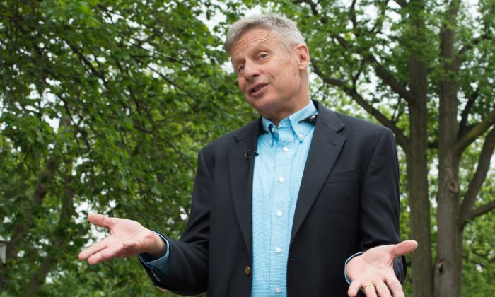 US Libertarian Party presidential candidate Gary Johnson during an interview in Washington, DC, on May 9, 2016. (NICHOLAS KAMM/AFP/Getty Images)