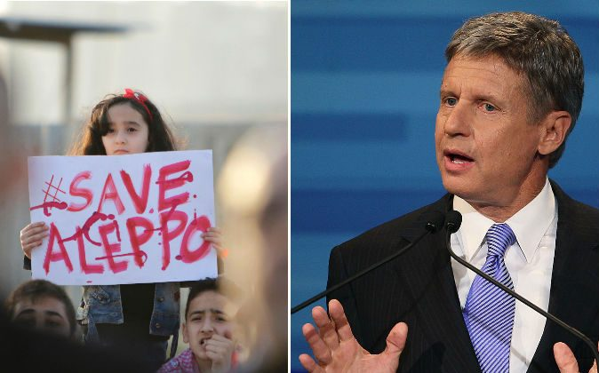 A Syrian girl holds a placard during a rally in solidarity with Aleppo, in the Lebanese northern port city of Tripoli, on May 1, 2016; Former New Mexico Gov. Gary Johnson speaks in the Fox News/Google GOP Debate at the Orange County Convention Center  in Orlando, FL., on Sep. 22, 2011. (IBRAHIM CHALHOUB/AFP/Getty Images; Mark Wilson/Getty Images)
