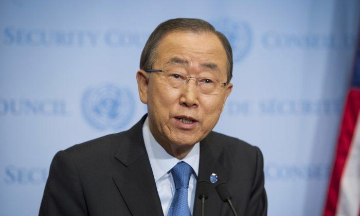 U.N. Secretary-General Ban Ki-moon speaks to reporters at the U.N. headquarters on Sept. 9, 2016. (Rick Bajornas/United Nations via AP)