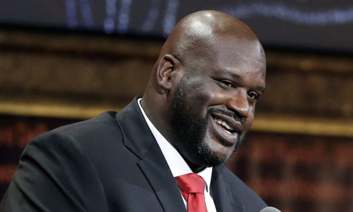 Basketball Hall of Fame inductee Shaquille O'Neal speaks during induction ceremonies at Symphony Hall in Springfield, Mass., on Sept. 9, 2016. (AP Photo/Elise Amendola)