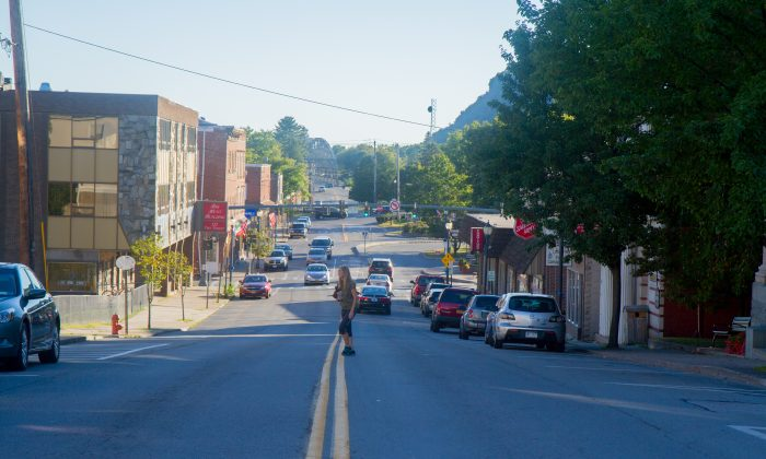 A view of Pike St. looking towards Front St. in Port Jervis on Sept. 12, 2016. The streets are part of a Complete Streets design the city is using a $20,000  grant to make improvements to. (Holly Kellum/Epoch Times)