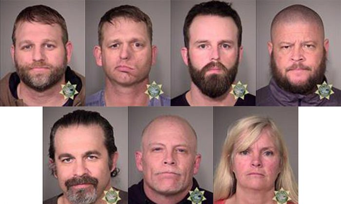 (Top L) Ammon Bundy, Ryan Bundy, Ryan Waylen Payne,  Brian Cavalier, (Bottom L) Peter Santilli, Joseph Donald OShaughnessy , and Shawna Cox pose for a mugshot photo after being arrested by U.S. Marshalls January 26, 2016 in Oregon. (Multnomah County Sheriff's Office via Getty Images)