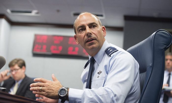 Air Force Lt. Gen. Jeffrey Harrigian during a briefing at the Pentagon in Washington, DC,, on September 29, 2014. (SAUL LOEB/AFP/Getty Images)