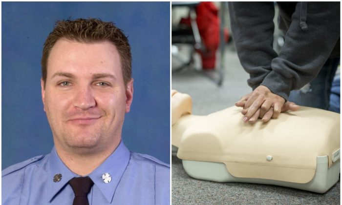 Left: FDNY Firefighter Brian Finley. (FDNY); Right: CPR training on a simulation dummy at Truckee Meadows Community College on  Feb. 22, 2014. (Truckee Meadows Community College/CC BY 2.0)