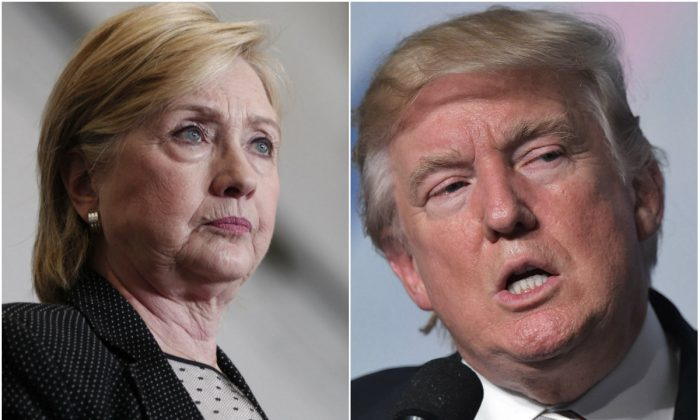 Democratic presidential nominee Hillary Clinton (R) in Warren, Mich., on Aug. 11, 2016. (Bill Pugliano/Getty Images); and Republican presidential nominee Donald Trump in Washington, D.C., on Sept. 9, 2016. (Mandel Ngan/AFP/Getty Images)