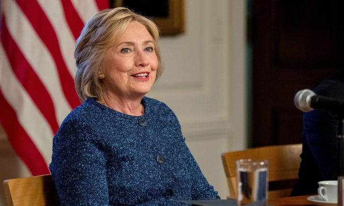 In this file photo, Democratic presidential candidate Hillary Clinton attends a National Security working session at the Historical Society Library in New York Sept. 9, 2016. (AP Photo/Andrew Harnik, File)