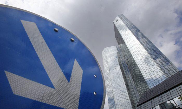 The headquarters of Deutsche Bank in Frankfurt, Germany, on June 9, 2015. (AP Photo/Michael Probs)