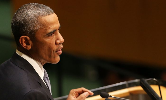 President Barack Obama at the 69th Session of the U.N. General Assembly at U.N. Headquarters in New York City on Sept. 24, 2014. (Spencer Platt/Getty Images)