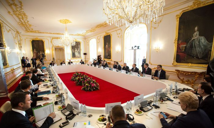 EU Prime Ministers and Presidents attend a round table during the European Union Summit of 27 Heads of State or Government in Bratislava on Sept. 16, 2016. (Vladimir Simicek/AFP/Getty Images)