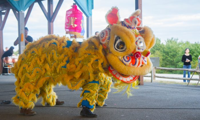 A lion dance performance during the Moon Festival at Mount Hope Town Park in Otisville on Sept. 17, 2016. (Holly Kellum/Epoch Times)