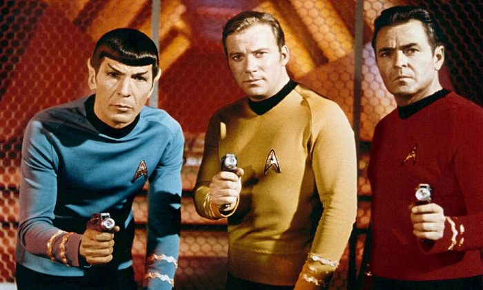 Leonard Nimoy, William Shatner, and  James Doohan in 1966. (Paramount Television)