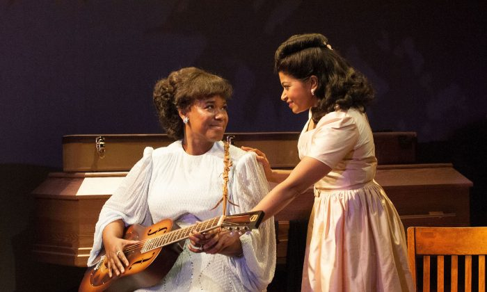 """(L–R) Kecia Lewis as Sister Rosetta Tharpe and Rebecca Naomi Jones as Marie Knight in George Brant's new musical """"Marie and Rosetta,"""" based on the lives of the highly influential gospel singers. (Ahron R. Foster)"""