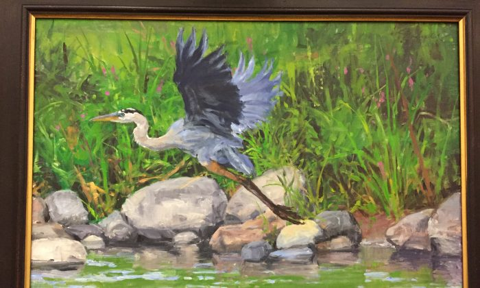 """Oil painting by Joseph Sundwall title """"Great Blue Heron."""" The artist exhibited a series of paintings of birds at SUNY Orange-Middletown campus Aug. 22 through Oct. 23, 2016. (courtesy of the artist)"""