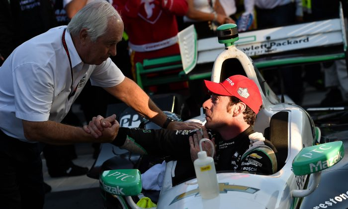 Team owner Roger Penske congratulates Simon Pagenaud in Victory Lane following their win in the GoPro Grand Prix of Sonoma to become the 2016 Verizon IndyCar Series Champion. (Chris Owens/IndyCar.com)