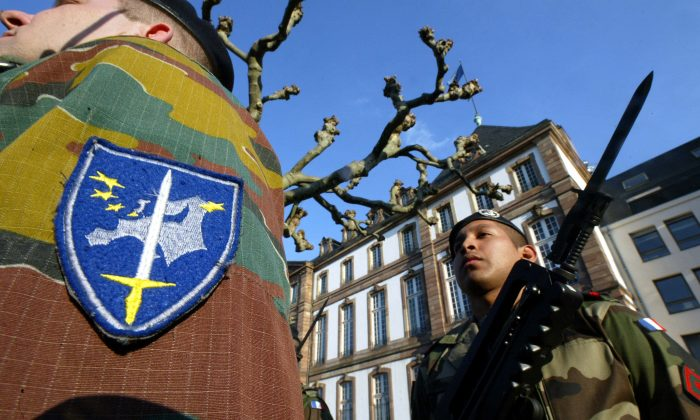 Eurocorps soldiers in Strasbourg, France, on March 16, 2005. (Olivier Morin/AFP/Getty Images)