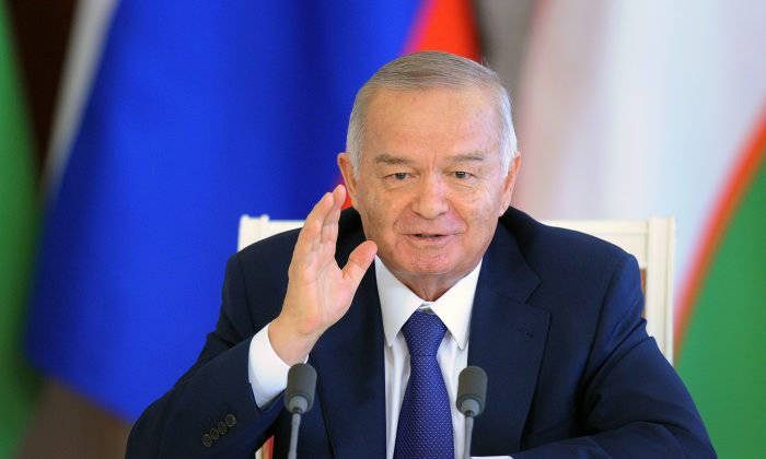 Uzbekistan's President Islam Karimov speaks with journalists in the Kremlin in Moscow on April 15, 2013, after his meeting with Russia's President Vladimir Putin. (Alexander Nemenov/AFP/Getty Images)