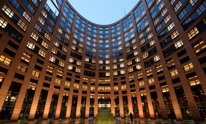 The courtyard of the European Parliament in Strasbourg, eastern France, on Feb. 5, 2014. (Patrick Hertzog/AFP/Getty Images)