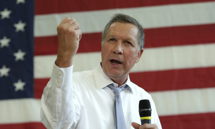 Republican presidential candidate John Kasich during a town hall meeting in Rockville, Maryland on April 25, 2016. (Yuri Gripas/AFP/Getty Images)