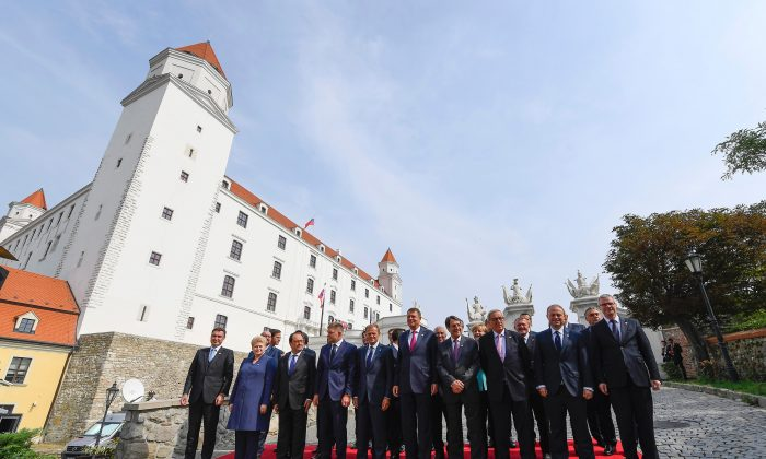 The 27 EU heads of state pose for a family picture during an informal EU summit at the Bratislava Castle in the Slovak capital on Sept. 16, 2016. (Joe Klamar/AFP/Getty Images)