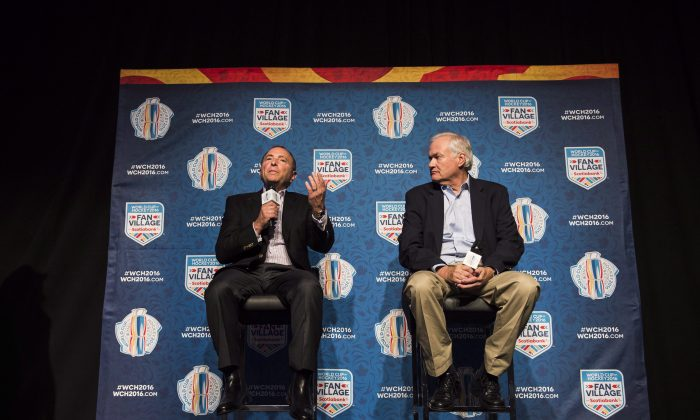 NHL CommissionerGaryBettman (L) and Executive Director of the NHLPA Don Fehr speak during a press conference about the World Cup of Hockey 2016 in Toronto on Aug. 17, 2016. The two executives kicked off the first Hockey Summit at the Hockey Hall of Fame in Toronto on Sept. 19. (The Canadian Press/Aaron Vincent Elkaim)