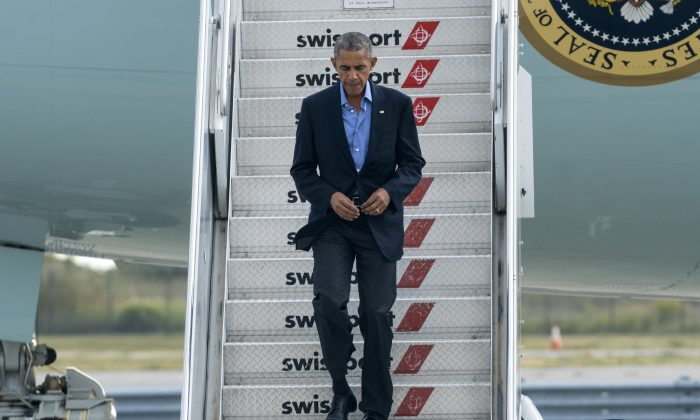 President Barack Obama arrives at John F. Kennedy International Airport in New York, Sunday, Sept. 18, 2016. (AP Photo/Craig Ruttle)