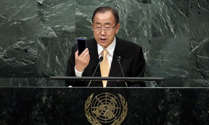 U.N. Secretary General Ban Ki-moon addresses the 71st session of the United Nations General Assembly, at U.N. headquarters on Sept. 20, 2016. (AP Photo/Richard Drew)