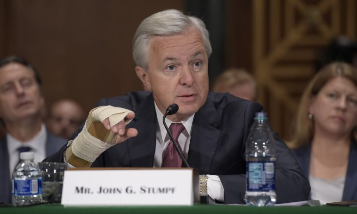 Then-Wells Fargo Chief Executive Officer John Stumpf testifies before Senate Banking Committee on Capitol Hill in Washington, on Sept. 20, 2016. (Susan Walsh/AP Photo)