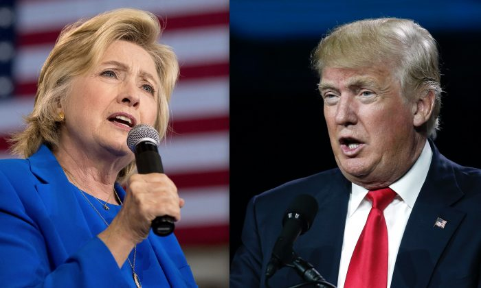 Hillary Clinton in Charlotte, N.C., on Sept. 8, and Donald Trump in Denver on July 1. (AP Photo/Andrew Harnik; David Zalubowski)