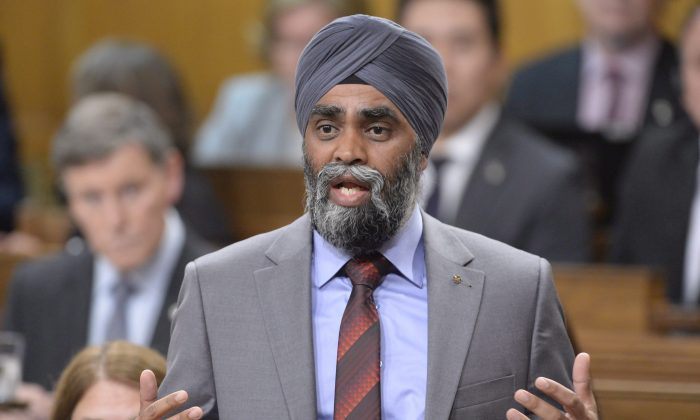 Defence Minister Harjit Sajjan during question period in the House of Commons on Sept. 20, 2016. (The Canadian Press/Adrian Wyld)