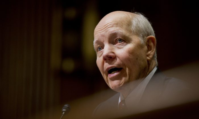 In this photo taken Feb. 10, 2016, Internal Revenue Service Commissioner John Koskinen testifies on Capitol Hill in Washington. Koskinen is apologizing to Congress for information his agency lost and inaccurate statements he made during congressional investigations of its treatment of tea party and other conservative groups. Koskinen is facing an impeachment effort by House conservatives, and he's set to testify Sept. 21 before the House Judiciary Committee.  (AP Photo/Manuel Balce Ceneta)