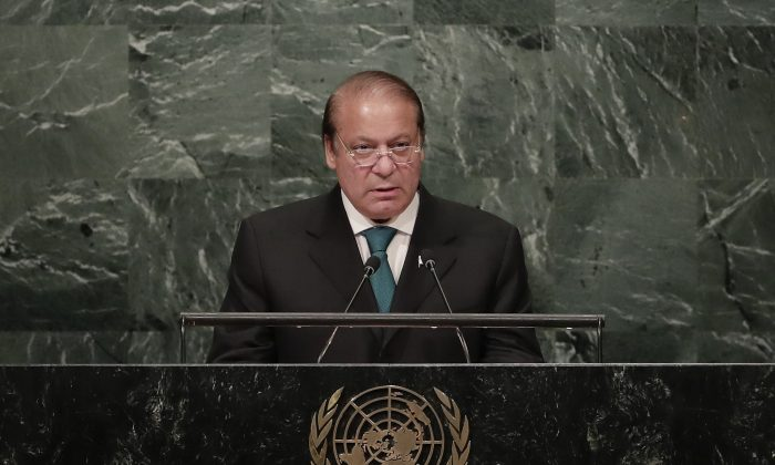 Muhammad Nawaz Sharif, Prime Minister of Pakistan, at the 71st session of the United Nations General Assembly at U.N. headquarters on Sept. 21, 2016. (AP Photo/Julie Jacobson)
