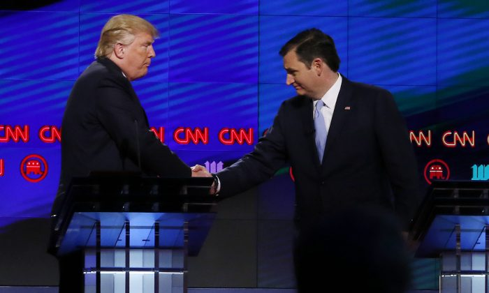 Donald Trump shakes hands with Texas Senator Ted Cruz  following the CNN Republican Presidential Debate March 10, 2016 in Miami, Florida. (RHONA WISE/AFP/Getty Images)