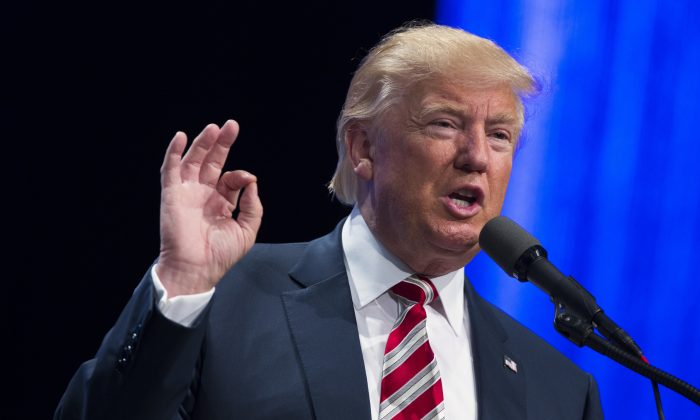 Republican presidential candidate Donald Trump speaks in Pittsburgh on Sept. 22, 2016. (AP Photo/ Evan Vucci)