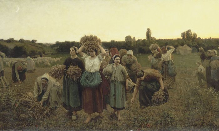 """Calling in the Gleaners,"" 1859, by Jules Breton (French, 1827–1906). Oil on canvas, 35 3/8 inches by 69 1/3 inches. (Musée d'Orsay Paris)"