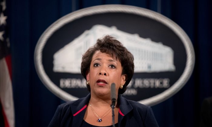 Attorney General Loretta Lynch at a news conference at the Justice Department in Washington on Sept. 22, 2016. (AP Photo/Andrew Harnik, File)