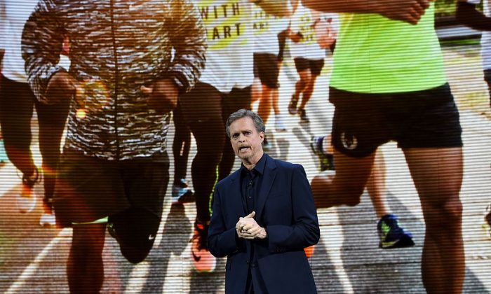Nike president and CEO Mark Parker reveals their latest innovative sports products during an event in New York on March 16, 2016. Fortune Magazine selected Mark Parker as the top businessperson of 2015. Mark Parker who is a former runner became CEO of Nike in 2006. Since then, he has doubled revenues and profits and raised Nike's stock price six-fold. (JEWEL SAMAD/AFP/Getty Images)