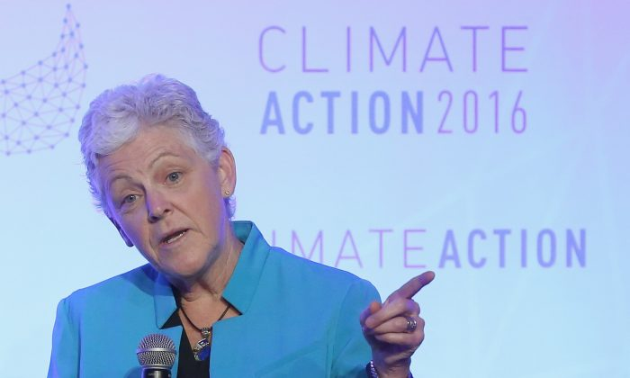 EPA Administrator Gina McCarthy speaks during the Climate Action 2016 Summit at the Willard Hotel in Washington, D.C., on May 6, 2016. (Mark Wilson/Getty Images)