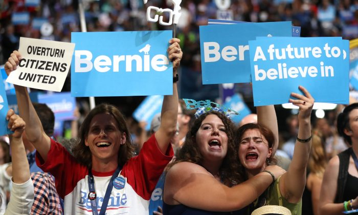 Supporters of Sen. Bernie Sanders (I-VT)  on the first day of the Democratic National Convention in Philadelphia on July 25, 2016. Bernie Sanders promotes and his supporters believe in democratic socialism. (Joe Raedle/Getty Images)