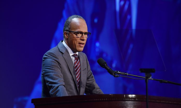 Master of Ceremonies, Lester Holt at the 31th Annual Great Sports Legends Dinner to benefit The Buoniconti Fund to Cure Paralysis at The Waldorf Astoria Hotel on September 12, 2016 in New York City.(Bryan Bedder/Getty Images for The Buoniconti Fund)