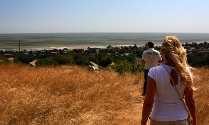 On a bluff overlooking the Sea of Azov outside of Mariupol. (Nolan Peterson/The Daily Signal)
