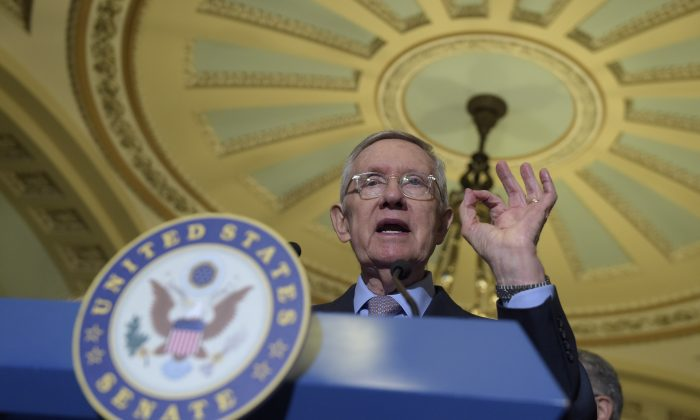 Senate Minority Leader Sen. Harry Reid of Nev. during a news conference on Capitol Hill in Washington. (AP Photo/Susan Walsh, File)