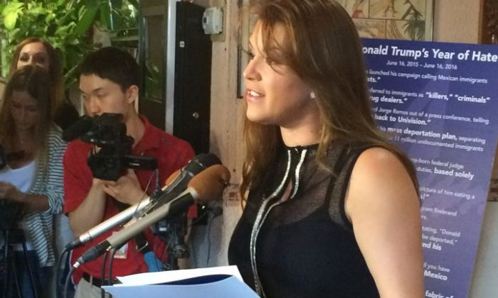 In this June 15, 2016, file photo, former Miss Universe Alicia Machado speaks during a news conference at a Latino restaurant in Arlington, Va., to criticize Republican presidential candidate Donald Trump. Machado became a topic of conversation during the first presidential debate between Trump and Democratic candidate Hillary Clinton on Sept. 27, 2016. (AP Photo/Luis Alonso Lugo, File)