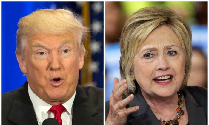 This file photo combo of file images shows U.S. presidential candidates Donald Trump, left, and Hillary Clinton. Trump wants to spur more job creation by reducing regulations and cutting taxes to encourage businesses to expand and hire more. He also says badly negotiated free trade agreements have cost millions of manufacturing jobs. He promises to bring those jobs back by renegotiating the NAFTA agreement with Canada and Mexico, withdrawing from a proposed Pacific trade pact with 11 other nations, and pushing China to let its currency float freely on international markets. Clinton has promised to spend $275 billion upgrading roads, tunnels and modern infrastructure such as broadband Internet, to create more construction and engineering jobs. Trump has said in interviews he would spend twice as much. (AP Photo/Mary Altaffer, Chuck Burton, File)