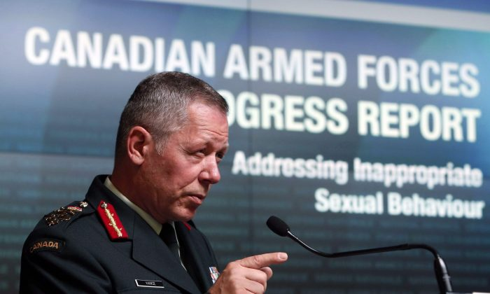 Chief of Defence staff General Jonathan Vance speaks during a news conference in Ottawa on Aug. 30, 2016. The Canadian Forces have created a special team of investigators to handle sexual offenses. (The Canadian Press/Fred Chartrand)