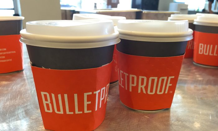 Coffee sample cups at the Bulletproof Biohacking Conference in Pasadena, Calif. on Sept. 23. (Sarah Le/Epoch Times)