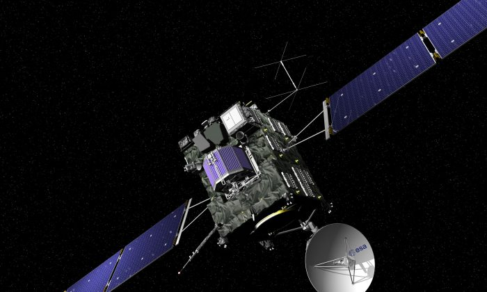 The artist impression provided on the website of the European Space Agency ESA on Sept. 29, 2016 shows ESA's Rosetta cometary probe. (J. Huart/ESA via AP)