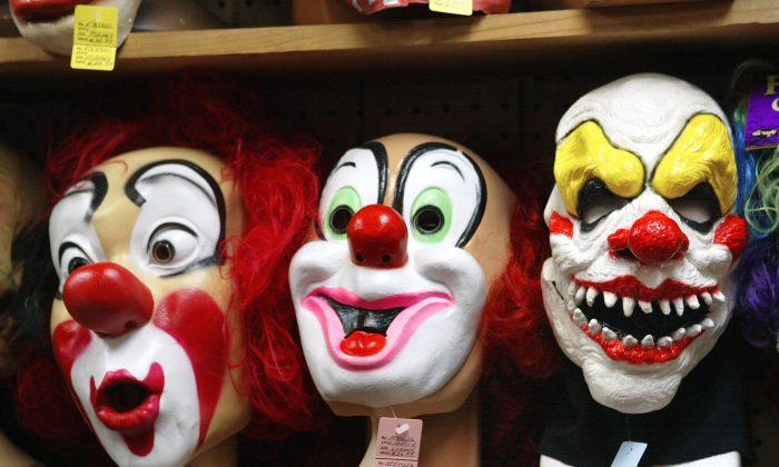 Clown masks are for sale at a store in Chicago in this file photo. (Tim Boyle/Getty Images)