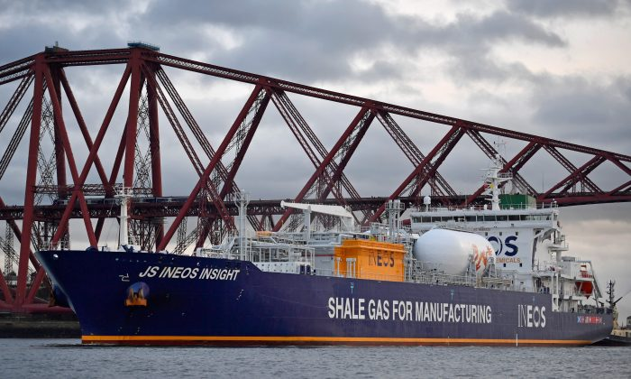 The first ship carrying shale gas from the US, arrives in the Firth of Forth en route to Grangemouth Oil refinery, near Edinburgh, Scotland on September 27, 2016. The tanker is the first of eight shipping ethane from US shale fields, in a two billion dollar investment by chemical company INEOS.  (Jeff J Mitchell/Getty Images)